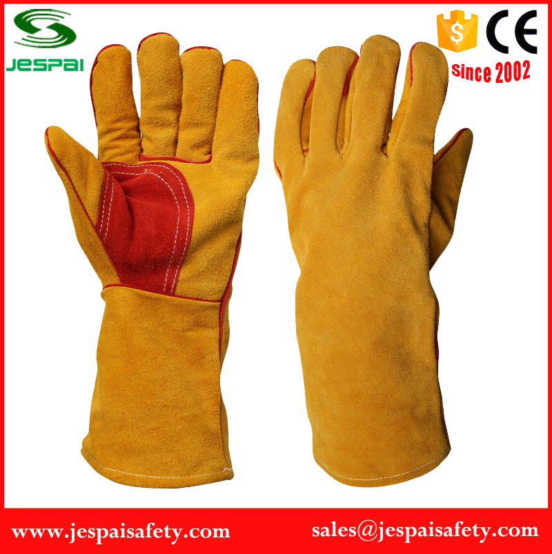 heat resistant cut resistant yellow cow split welding leather gloves