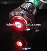12V Metal Switch Latching Push On Button Red Dot Led Flat Head 16mm