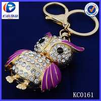 3D popular key chain 2014 fashion jewelry cute crystal owl keychain