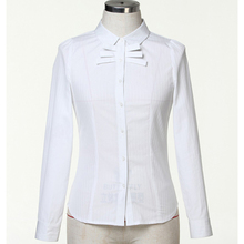 Long Sleeve Office Work Lady Blouses & Tops White Formal Woman Blouse