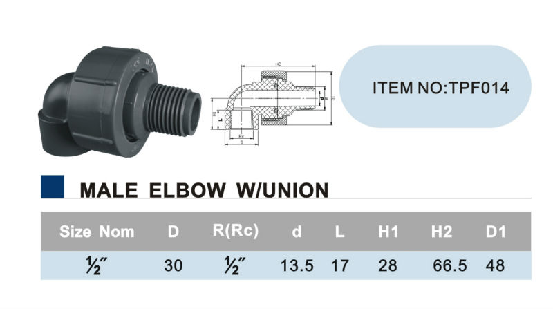 ERA Male and Female Elbow with Union (PVC Thread Fittings BS Standard)