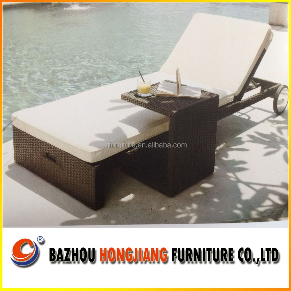 2015 New design sun chaise lounge sun lounger in beach chairs with wheel for rattan outdoor furniture