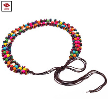 braided wooden beads waistband women colorful wooden beads braided belt handmade wood beaded belt band