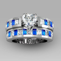 Heart Cut White and Blue Cubic Zirconia copper diamond ring Women's Wedding Ring Set/Promise Ring