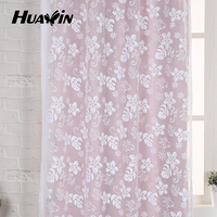 flower design special bottom embroidery sheer lace curtain fabric