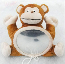 Monkey mirror for daily life plush functional soft toy backseat mirror for babies