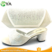 Silver stones shoe and bag set/italian women slipper shoes