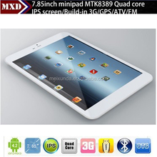 7.85 inch MTK8382 Quad Core ultra thin tablet korea 1GB/8GB with 3G SIM Card Slot, GPS, BT, FM