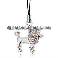 Cute dog phone strap handphone strap bling cellphone strap