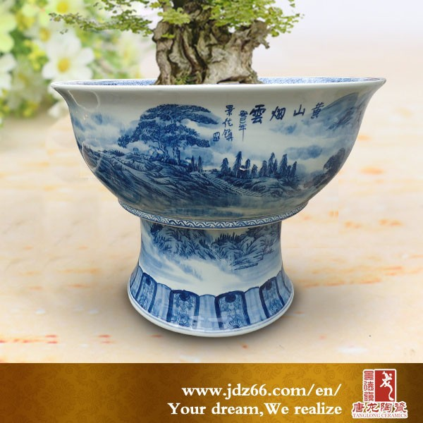 New year excellent quality blue and white handmade ceramic pot pedestal for garden decoration