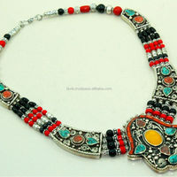 Handmade TURQUOISE CORAL Necklace Tibetan Silver