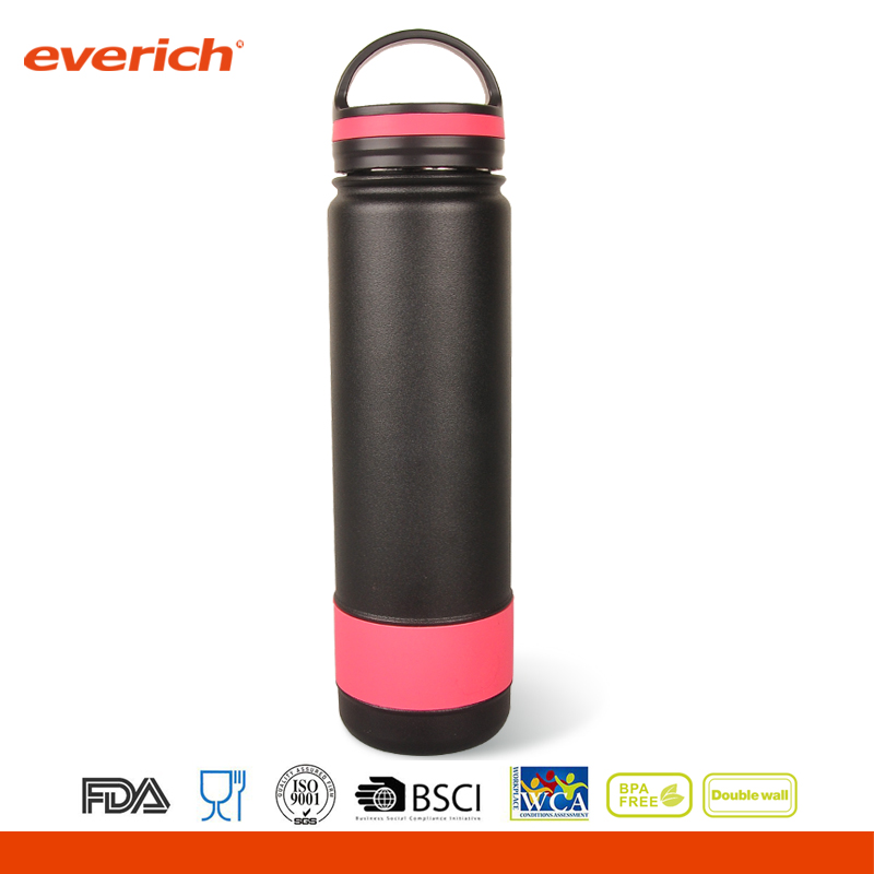 New 32oz Sports Insulated Stainless Steel Water Bottle with Silicone Band