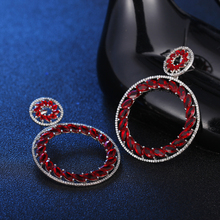 Hoop Earings for Women 2018 Marquis Zirconia Cheap Jewelry Red Bead Earrings