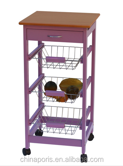 2016 good quality and competitive price wooden kitchen trolley with three metal wire brackets/ceramic tile on top with drawer