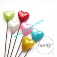 55mm Heart shaped colored Head Pins For Corsages Bulletins