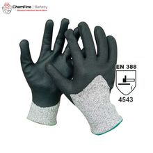 Cut Resistant 13G Gray PE/Glass Fiber Knitted Glove with Black Water-based PU Smooth Coating on Palm/ EN388:4543