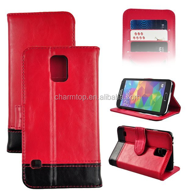 Contrast Color PU Leather Wallet Case For Samsung Galaxy S5 i9600