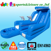 Blue wave inflatable dolphin water slide with splash pool