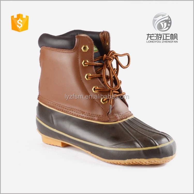 Brown winter rubber duck boots for ladies