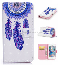 Factory Price PU Leather Wallet Stand Cell Phone Case Flower Print Cover for Apple Iphone 5 5S SE