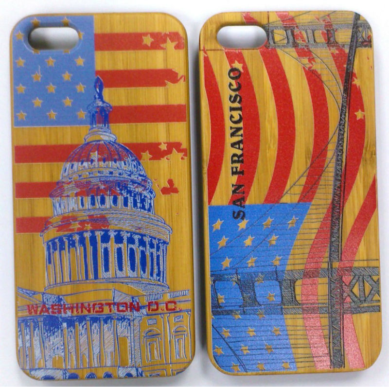 high quality wood case for iphone 5 5s with national flag case USA