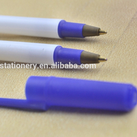 Promotional products simple stick white plastic ball point pens