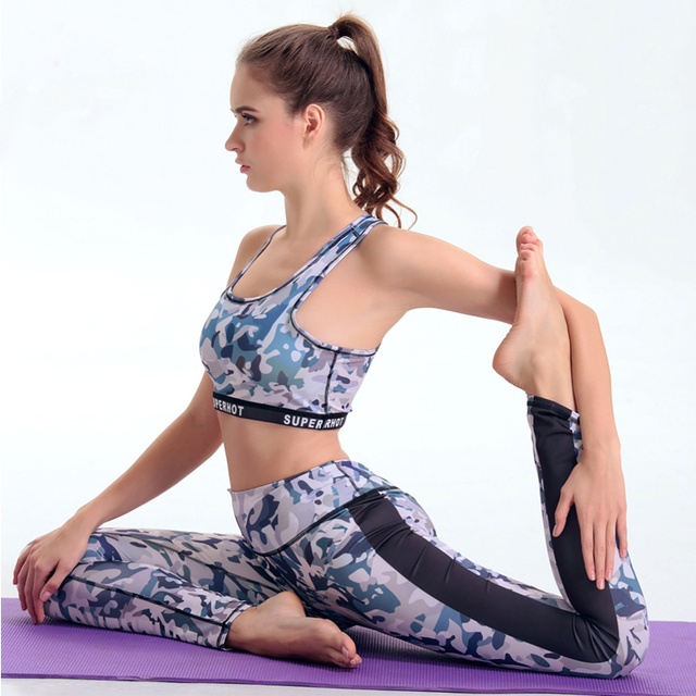 Fitness Mature Women Sports Wear Wholesale 2017 Yoga Camouflage Printed Pants And Bra Set Gym Leggings Manufacturer