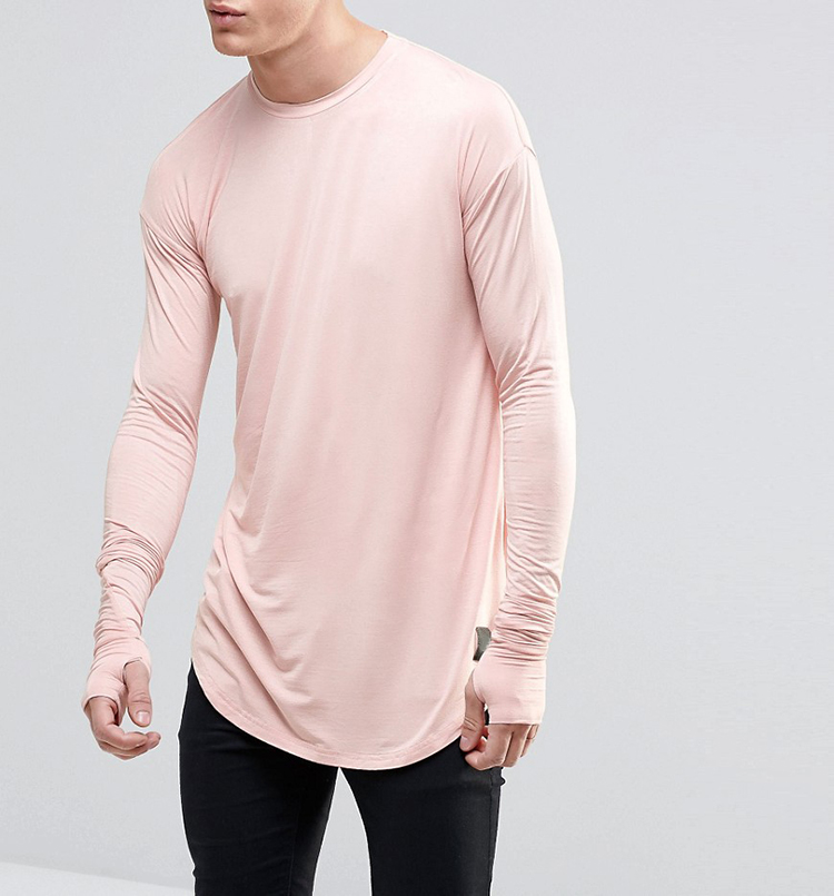 Custom Men's T-shirt Printing Cotton Fashion Clothing Longline Curved Hem Long Sleeve Men's T-shirt