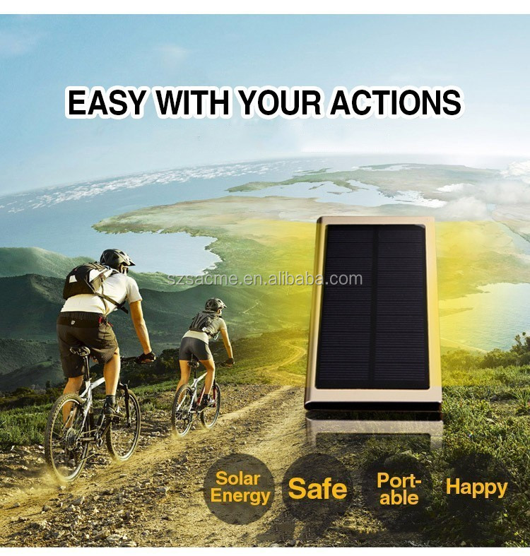 Ultra Thin 8000mAh high capacity Mobile solar Power Bank with LED Light