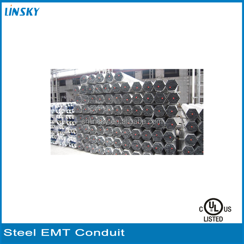 "China LINSKY Factory Galvanized Surface Finish 1/2""-4"" Steel Pipes EMT Conduit Sleeve"