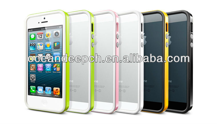 tpu+pc rim protector for iphone5 bumper case cover