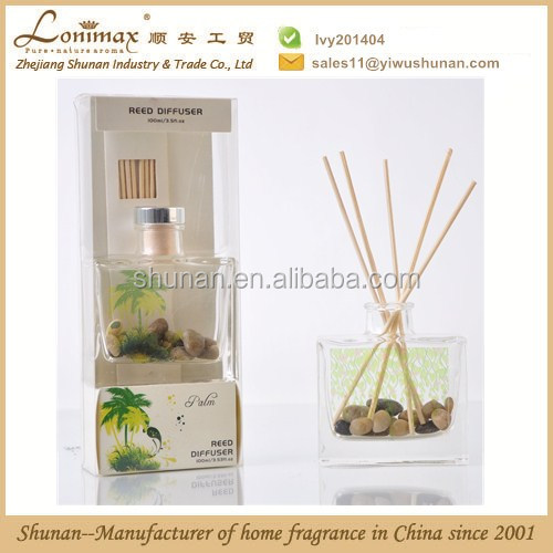Home fragrance reed diffuser/ reed diffuser with stone in glass bottle