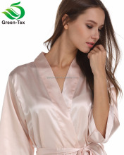 Fashion Women Blush Color Satin Kimono Robe