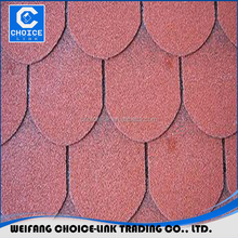 chinese tile Red Color Round Shape Fiberglass Roofing Asphalt Shingle