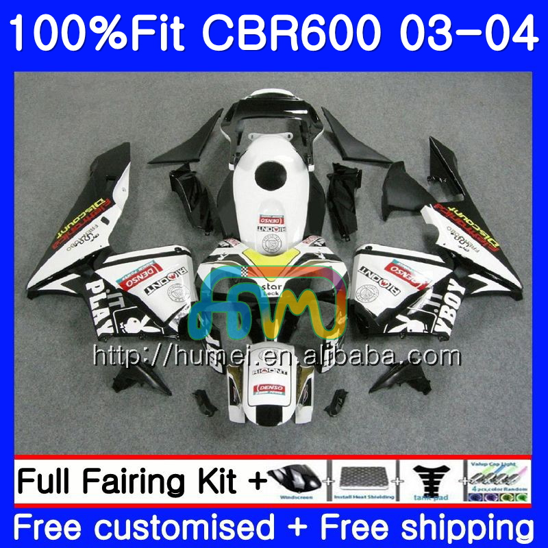 Injection For HONDA CBR 600RR F5 CBR600 RR 03-04 11HM53 white black CBR600RR F5 03 04 CBR600F5 CBR 600 RR 2003 2004 Fairing kit