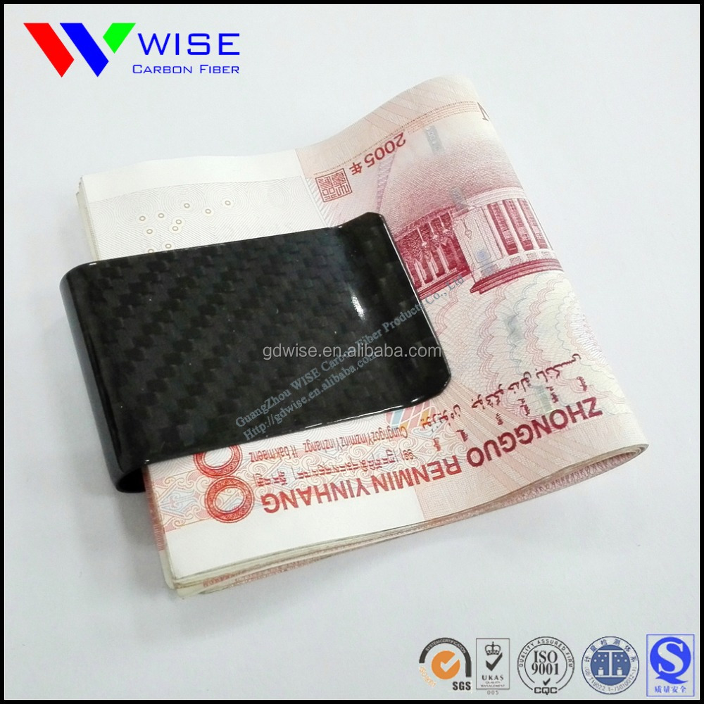 Colorful portable 100% real carbon fiber money cash clip card holder
