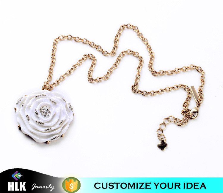 direct wholesale costume jewelry china fashion big rose flower pendant neckalce