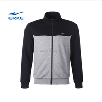 ERKE wholesale simple design long sleeve full zip mens polo collar hoodie sports sweatshirt without hoodie