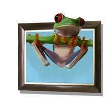 Pop 3d Modern Canvas Contemporary Art Handmade Animal Frog Oil Paintings On Canvas For Sale