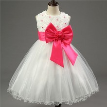 New style little <strong>girl's</strong> lace princess <strong>dress</strong> wholesale children's bow knot <strong>dress</strong>