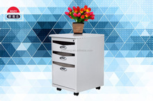 Mini movable steel file cabinet with 3 drawers