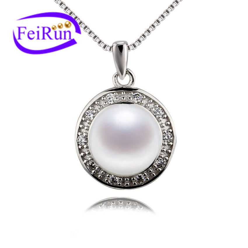 Freshwater pearl pendant 9.5-10mm button AAA natural pearl pendants