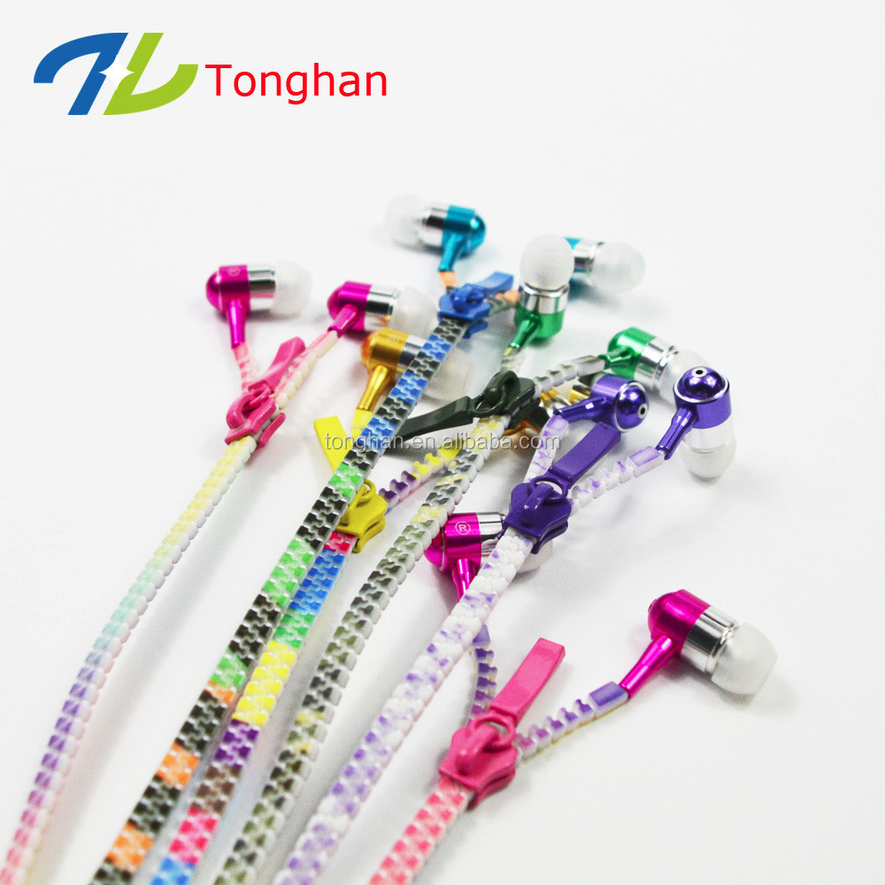 Metal earphones zipper package with microphone in ear earbuds for Samsung lg