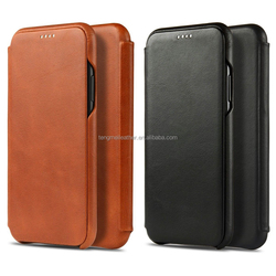 Magnetic Genuine Cowhide Leather Ultra Slim Flip Case Cover for iPhone X,For Iphone X Cowhide Leather Case