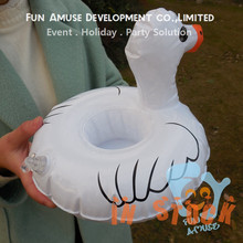 water pool pvc inflatable white duck floating drink holder in stock