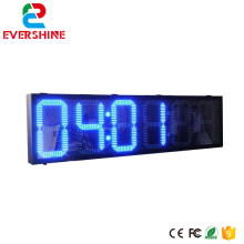 10 inch 6 Digits number 88:88:88 blue color led time temperature sign / outdoor large digital clock
