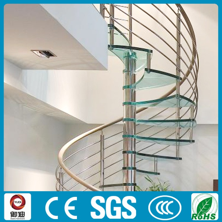 Indoor Frameless Spiral Glass Prefabricated Stairs Factory
