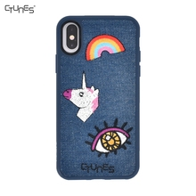 Phone Case Embroidery Pattern for iphone X,Hybrid Leather Lagging Silica Gel 3D Embroidered Case for iphone X