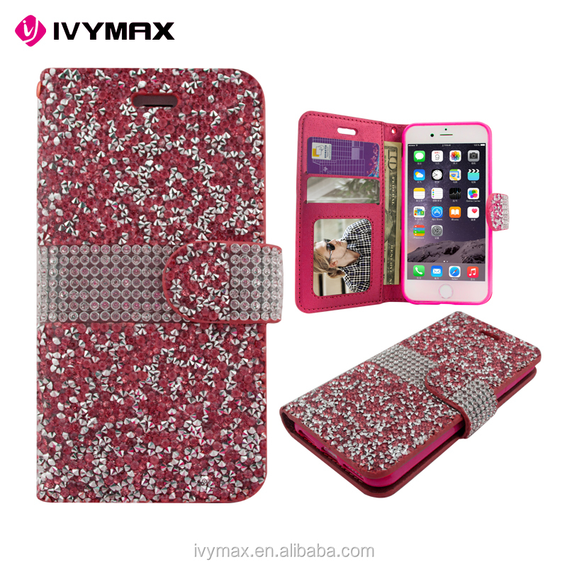 cheap PU diamond leather wallet cell phone case for apple iphone 7 plus