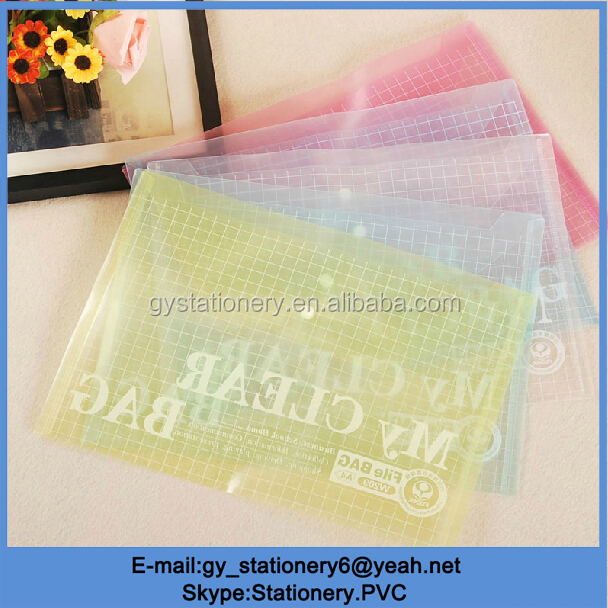 Transparent button file bag, waterproof document bag